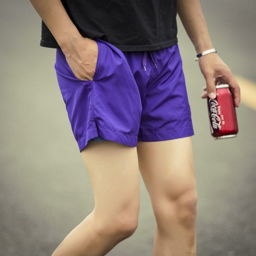 Summer thin candy colored Slim casual mens sports quick-drying shorts beach pants leisure shorts tide