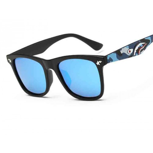 P8055 Tide brand popular celebrity style sunglasses polarized sunglasses blue ocean blue ocean shark pattern pattern Colorful sunglasses