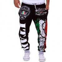 Men & #039;S Casual Trousers Personalized Italian Flag Printing Pants