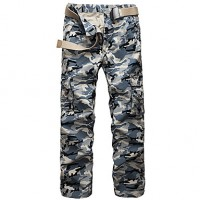 Men & #039;S Army Camouflage Long Loose Chinos , Multi-Pocket Casual/Sport/Plus Sizes Cotton