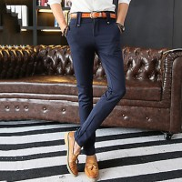 Men & #039;S Slim Elastic Chinos , Trousers Casual/Work/Formal Pure Cotton/Polyester/Spandex