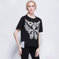 Summer women in Europe and the US markets chiffon blouse stitching bottoming large size women loose cotton short-sleeved t-shirt to increase