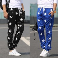 New style mens sports pants star pattern harem pants mens casual pants long pants Wei pants