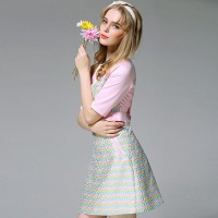 Ms. Spring new models station Europe elegant temperament round neck printed A-shaped skirt short-sleeved dress Ms.