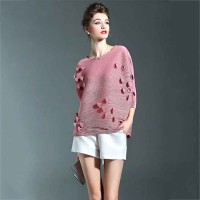 Summer new models in Europe and the United States market three-dimensional flower short-sleeve T-shirt lady minimalist Europe station fashionable blouses