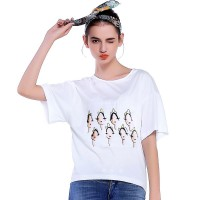 Summer new models in Europe and the US market irregular fashion loose casual short-sleeved t-shirt printing Ms.