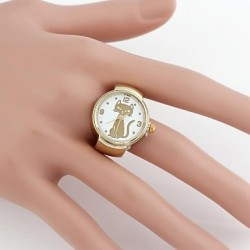 Cute Cat Cartoon Metal Analog Quartz Ring Watch(1Pc)