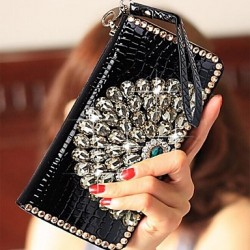 Women & #039;S Fashion Wallet Crystal Peacock Patterns Wallet Zipper Wristlets