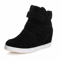 Women & #039;S Shoes Faux Suede Wedge Heel Wedges/Round Toe Fashion Sneakers Casual Black/Red