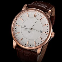 Men & #039;S Automatic Mechanical Simple Dial Leather Band Wrist Watch (Assorted Colors)