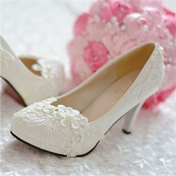 Women & #039;S Shoes Leather Stiletto Heel Heels/Pointed Toe Pumps/Heels Wedding/Party & Evening White