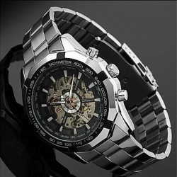 Men & #039;S Auto-Mechanical Skeleton Silver Steel Band Wrist Watch
