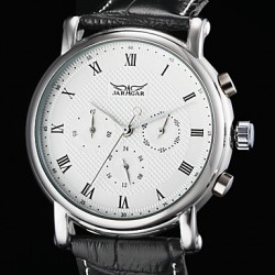 Men & #039;S Auto-Mechanical 6 Pointers Black Leather Band Wrist Watch