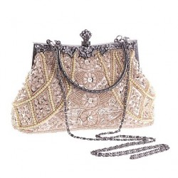 Women & #039;S Pearl Diamonds Beaded Delicate Evening Bag