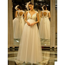 A-Line Wedding Dress- Ivory Floor-Length Queen Anne Lace/Tulle