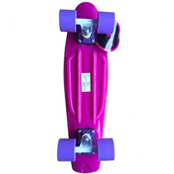 Classic Plastic Skateboard (22 Inch) Cruiser Board Pink With Purple Wheels