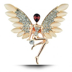 Angel Girl Crystal Opal Brooch Wings