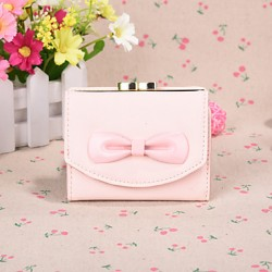 2017 Cute Sweet Style Big Bow Short Horizontal Candy Color Ms Card Wallet Card Package