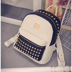 Women PU Weekend Bag Shoulder Bag- White/Black