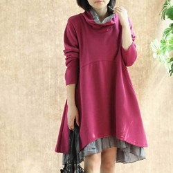 Maternity Fashion Turtleneck Stitching Contrast Color Dress