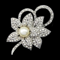 Women's New Charm Flower Crystal Brooches Pins Rhinestone Imitation Pearl Brooch Pin