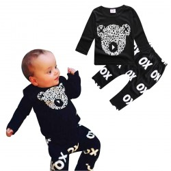 Baby Black Bear Long Sleeve Wild Boy T-shirt and Pants Outfit Set