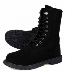 Men's Mid Calf High Top Lace Up Boots