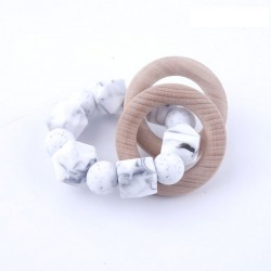 Baby Silicone Beads with Wooden Ring Rattle Baby Nursing Accessories