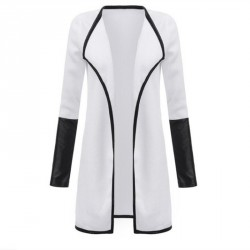Women's Leather Long Sleeve Knitted Cardigan Jacket