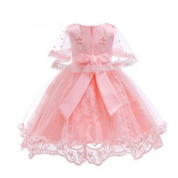 Babys Breathable Bow Tie Lace Sleeveless Mesh Princess Casual Dress