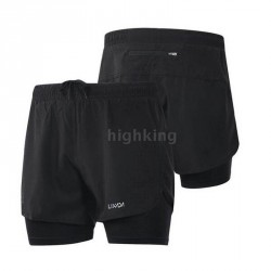 Men's 2-in-1 Quick Drying Breathable Training Exercise Jogging Cycling Shorts