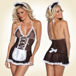 Black Sexy Open-Back Lingerie Skirt Game Maid Outfits Ladies Pajamas Set
