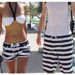 2017 New Fashion Beach Shorts For Women And Men Swimming ,Black And White Stripes Sports Shorts K464 ,Free Shipping