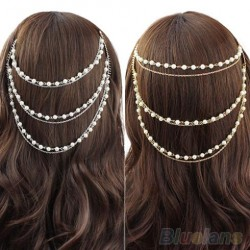 Celebrity Women & #39;S Boho Pearl Headband Tassel Headpiece Hair Chain Hair Comb Jewelry 1Oyx
