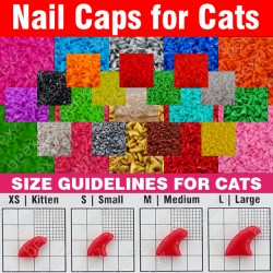 120Pcs- Soft Nail Caps For Cats + 6X Adhesive Glue + 6X Applicator /* Xs, S, M, L, Paw, Claw, Cover, Lot, Cat */