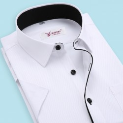 2017 Brand Summer Plus Size Men Shirt Slim Fit Striped Business Formal Shirt Short Sleeve Mens Dress Shirts Chemise Homme S-4Xl