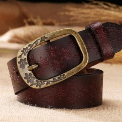 2017 New Vintage Leather Belt Woman Genuine Cow Skin Fashion Floral Curved Buckle Belts For Women Top Quality Accessory