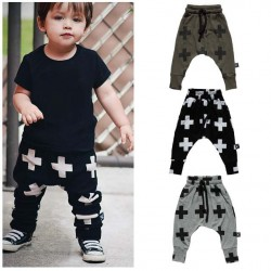2017 New Girls Boy Toddler Child Fashion Boys Pants Cross Star Children Harem Pants For Trousers Baby Clothes
