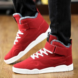 Winter Mens High Top Shoes Thicken Plush Inside Man Warm Shoes Velcro Lace-Up Fashion Trend Joker Skate Shoes For Men H1003