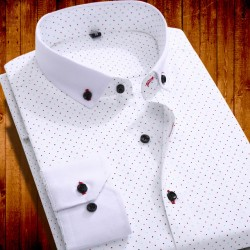 Clearance Sale !! Brand New Men Casual Shirts Long Sleeved Polka Dot Man Shirt High Quality Camisa Masculina
