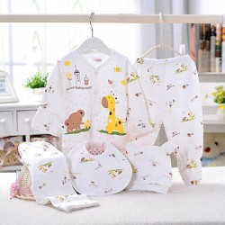 0-3M Baby Clothes Set New Born Boys Girls Soft Underwear Animal Print Shirt And Pants Cotton Clothing 5 Pcs