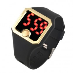 Fashion Men Women Heartbeat Rate Wrist Watch Sports Silicon Band Strap Led Heartbeat Rate Time Date Led Smart Watches Black Red