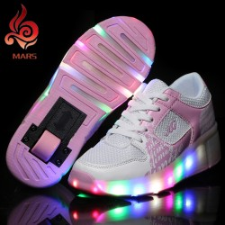 New 2017 Heelys Jazzy Junior Girls Boys Led Light Heelys Roller Skate Shoes For Boys With Wheels Pink