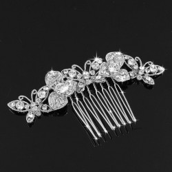 Butterfly Style Clear Crystal Rhinestone Headwear Headpiece Bridal Hair Comb For Wedding Party Jewelry