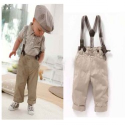 Fast shipping low price Promotional clothing cool bibs boy pants suit striped shirt clothes Promotions