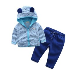 Boys and girls sports suit children warm suits fast shipping low price Kids love animal prints pattern Set autumn and winter