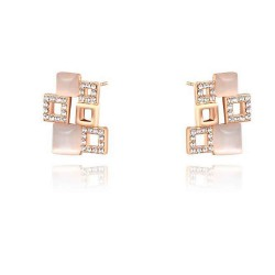 Discount fashion jewelry earrings discounted high-quality products in Europe and the US market more crystal rose gold square earrings combination