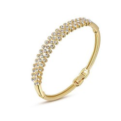 Discount jewelry selling jewelry in Europe and the US market crystal 18K gold diamond bracelet three rows of high-grade bracelet