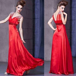 Beautiful new style red evening dress in Europe and the US market for low-price discount sales dress costumes