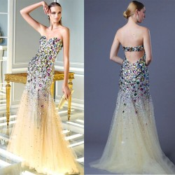 Promotional low price of high-end dress in Europe and the US market stylish and elegant diamond luxury prom dress chaired